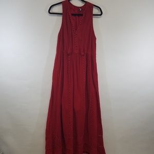 Madewell 1937; Red Maxi Embroidery Accents/size 8